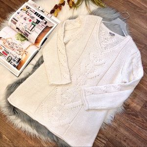 J. Jill Cream Cable Knit Chunky Wool Blend Sweater